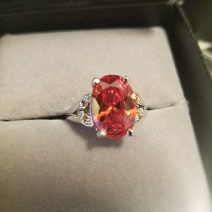 Jewelry - 🔥🔥🔥Orange Sapphire Sterling Silver Ring🔥🔥🔥